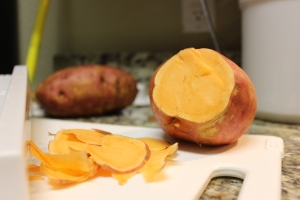 I choose a wide sweet potato to know when I sliced it I would get a decent sized chip!